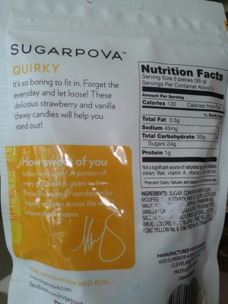 Sugarpova quirky description and ingredient list
