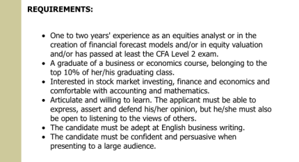requirements for an equity analyst  position