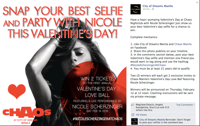City of Dreams Manila Nicole Valentine's Promo