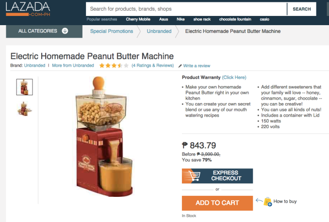 Peanut Butter Machine Promo from Lazada