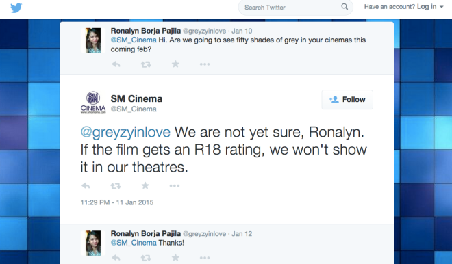 SM Cinema Tweet about 50 shades of Grey