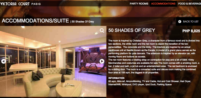 Victoria Court Fifty Shades of Grey suite