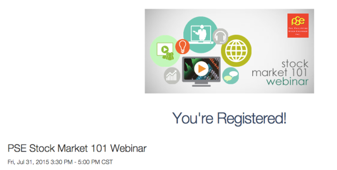 I'm Registered for the PSE Webinar