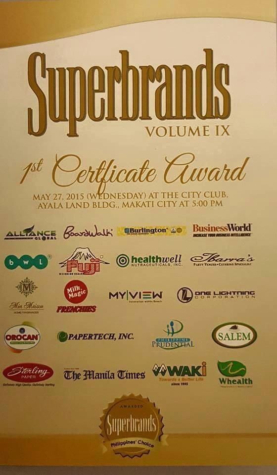 Superbrands 1st certificate awardees 2015