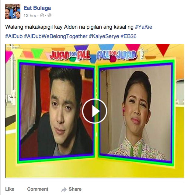 "Alden Richards and Yaya Dub or  ""AlDub"" in Eat Bulaga"