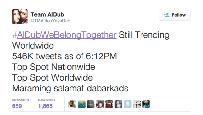 #AlDubWeBelongTogether Trending Worldwide