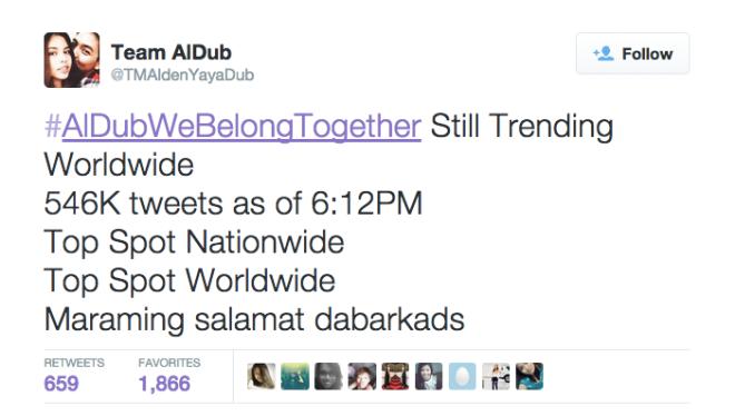 #AlDubWeBelongTogether Trending Worldwide