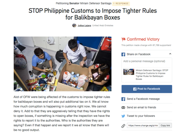 Balikbayan boxes Change.org petition - Confirmed Victory