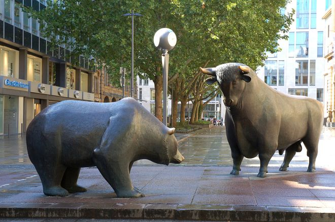 Bull and Bear Statues near Frankfurt Stock Exchange