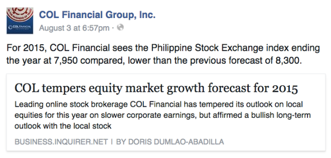 COL Financial downgrades 2015 yearend forecast