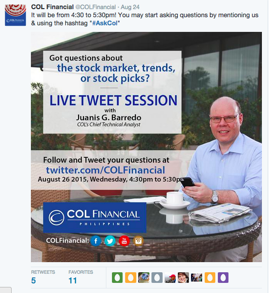 COL Financial Live tweet session with Juanis Barredo