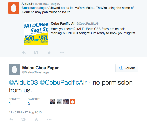 Reply of an executive of Eat Bulaga production company to tweet about Cebu Pacific Aldub promo