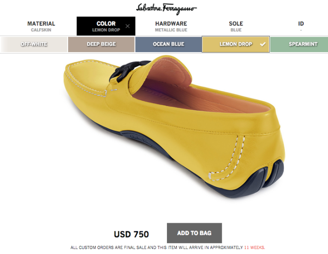 Ferragamo Customized Calfskin Lemon Drop Shoes