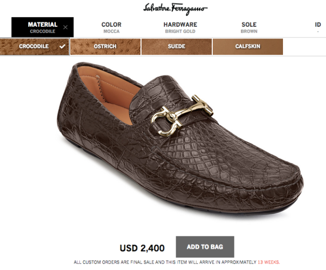 material choices for Ferragamo Customized Driver Shoes