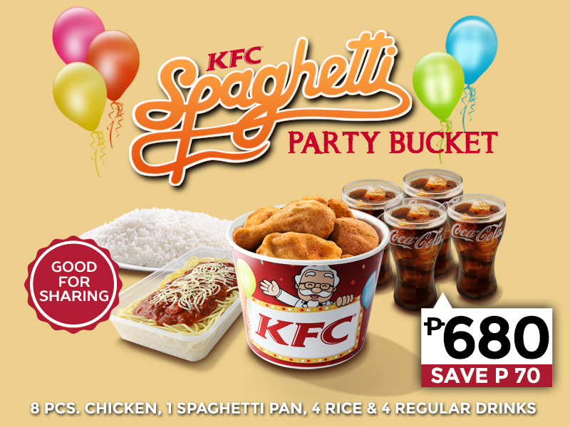 deal. KFC Spaghetti Party Bucket Promo. Image from kfcdelivery.com.ph