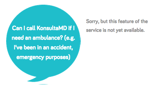 Konsulta MD response to emergency question