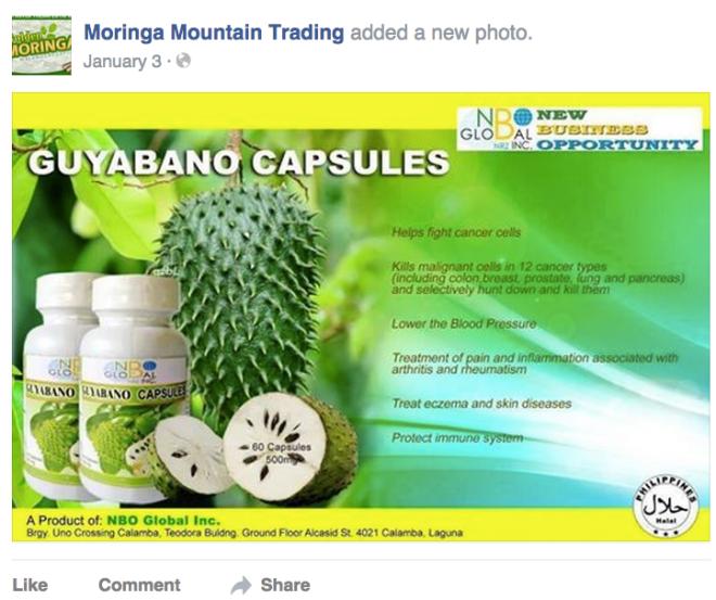 Moringa Mountain Trading made Guyabano capsules for the now collapsed MLM company NBO Global