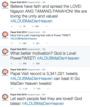 Papal Visit twitter account power tweets for AlDub