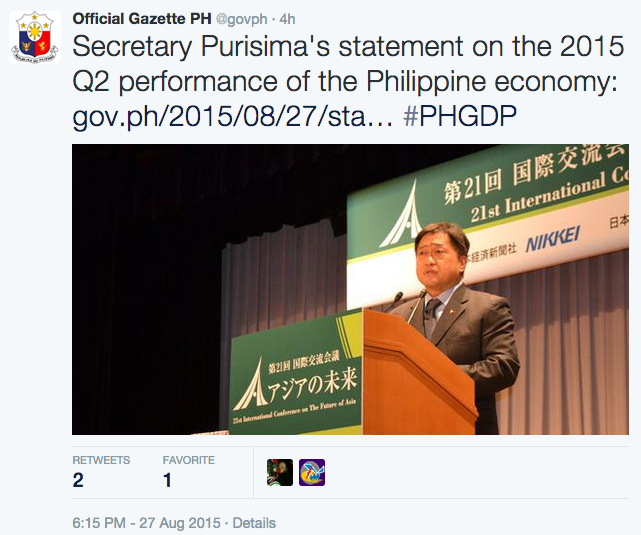 Tweet on Secretary of Finance Cesar Purisima's statement on the economy's Q2 growth
