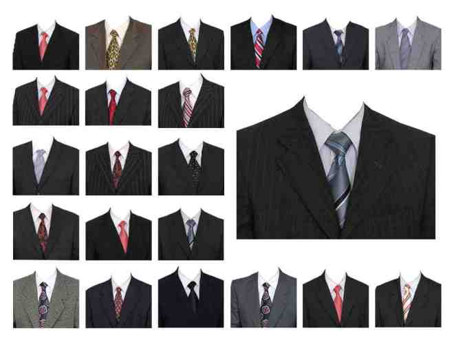 Suit and tie templates for ID passport photos