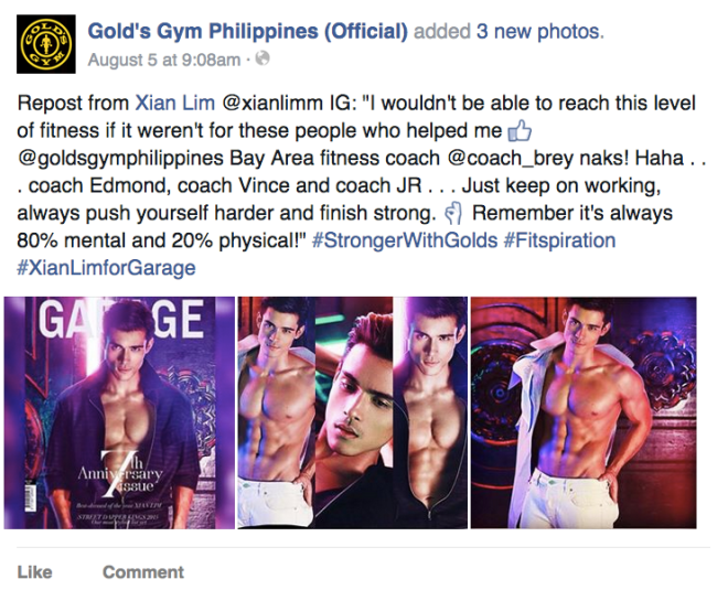 Xian Lim thanks Golds Gym Philippines for his body