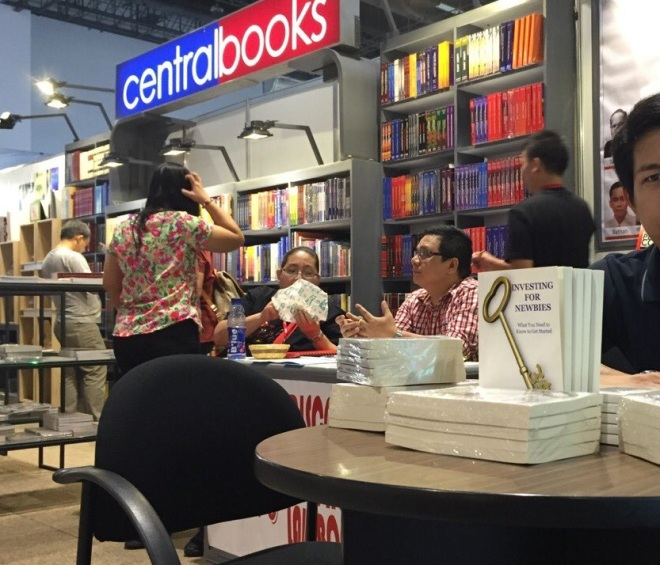 Investing for Newbies book at Central Books booth in the 36th Manila International Book Fair