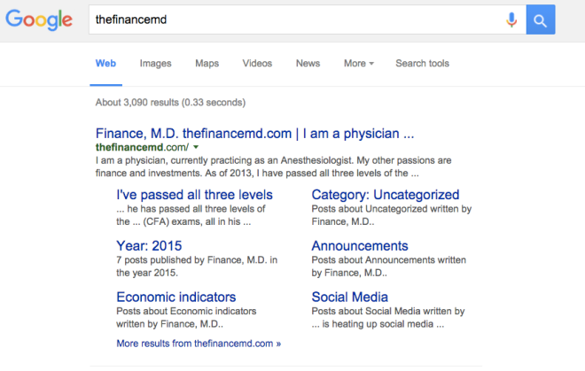 thefinancemd.com Google sitelinks